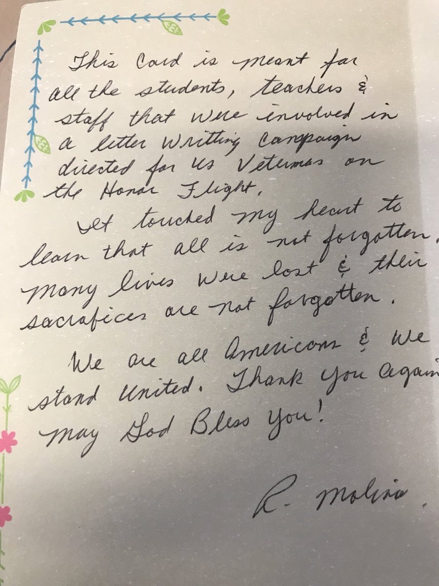 travis magnet on twitter thank you note from a veteran who received notes from our students on the recent honor flight thank you for your service mr