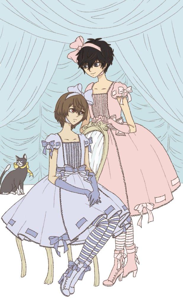 i mostly just wanted shuake in pretty dresses, so... kira imai inspired pastel boys (plus a bonus morgana lol) <br>http://pic.twitter.com/1ButC3HMr2