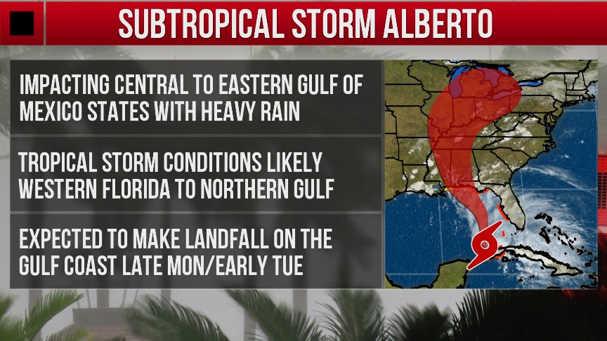 Subtropical Storm #Alberto is expected to intensify in the Gulf of Mexico. Full details:  https:// wxch.nl/2IO6DAJ  &nbsp;  <br>http://pic.twitter.com/pTxyacA0jg