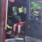 The coolest ride to school... Ever. This super happy fourth grader came to school on a fire truck with the Oak Lawn Fire Department... Incredible! There were lights and sirens and everything! Thank you for a great start to the day! 🤗 #swd123