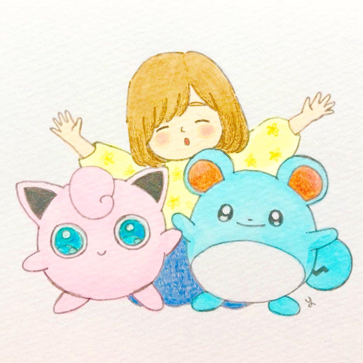 さゆい Kumanekonomori V Twitter 最近またポケモンgoをはじめました 小学生の時に好きだったプリンとマリルを描きました ポケモン Pokemon ポケットモンスター イラスト Illust 絵描きさんと繫がりたい