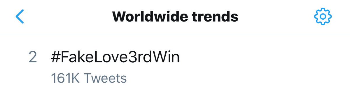 #FakeLove3rdWin is trending worldwide following @BTS_twt &quot;FAKE LOVE&quot; third win on SBS Inkigayo <br>http://pic.twitter.com/lnU258HQRb