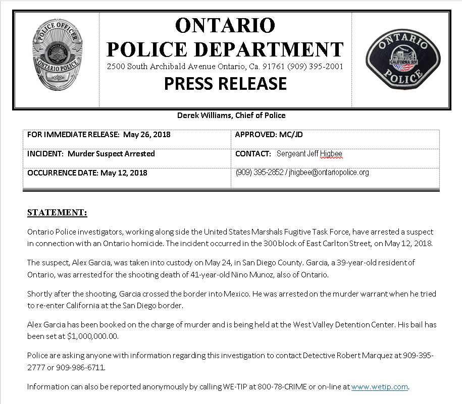 Ontario Police Dept  on Twitter: