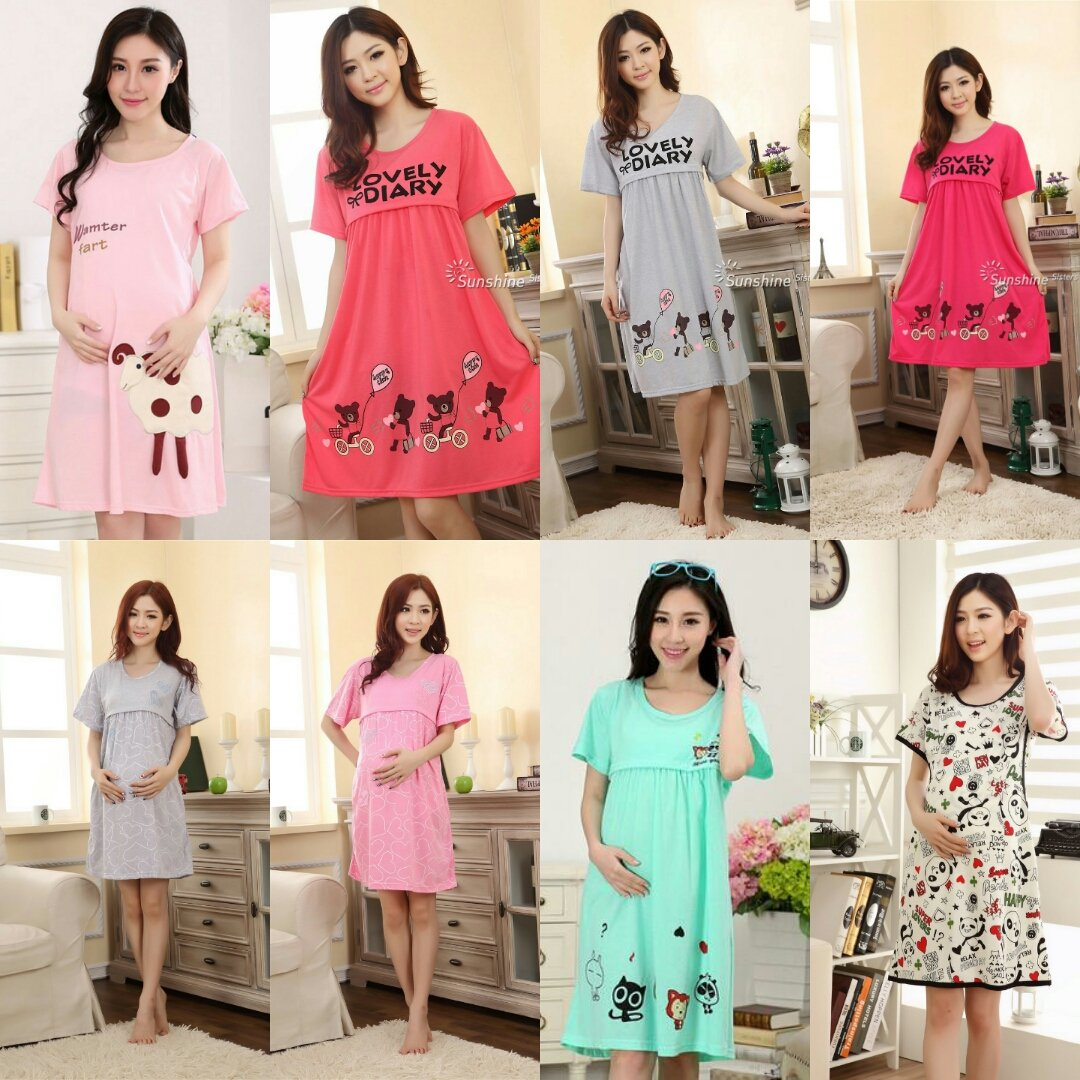 Pregnant Women Long Dress Maternity Short Sleeve Breastfeeding Nursing Sleepwear