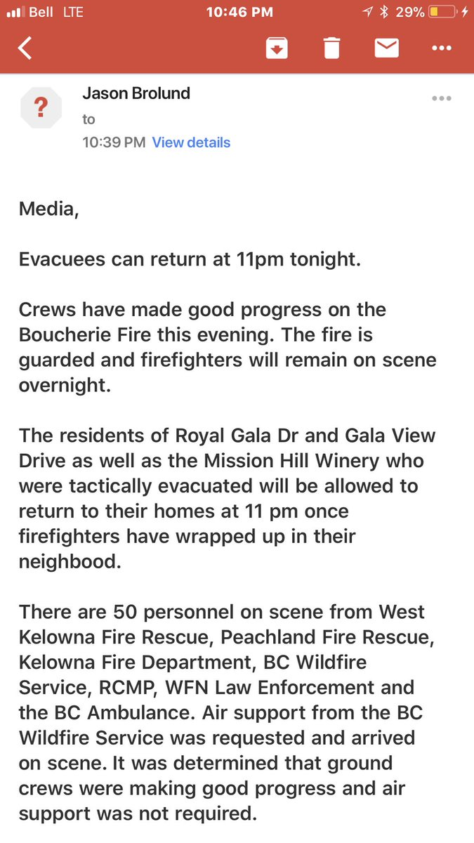 West Kelowna fire dept is allowing people forced to flee fire near Mission Hill winery to return at 11pm. Fire is not a risk to homes. 5ha in size. Crews monitoring it overnight. No structures lost, no one hurt. See email from Fire Chief Jason Brolund. <br>http://pic.twitter.com/byaGqoy3qD