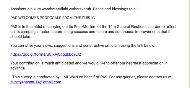 PAS is holding a survey as a post-mortem for its performance in #GE14.  Pls feel free to let them know how you feel about an Islamist party.  https:// goo.gl/forms/uUiXAjUc ggbbq9uI2 &nbsp; … <br>http://pic.twitter.com/rcbWR0wKMj