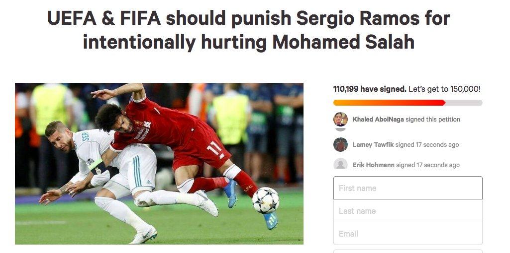 [#LDC🏆] Sur la toile, une pétition pour 'punir' Sergio Ramos d'avoir blessé Mohamed Salah a été signée 110 000 fois...👀