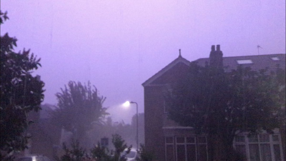 Folks... i'm never going to have to use my weather click again. There is so much #electricity in my body after last night I can do it from a distance...what a #storm! ...gagging on those purple colours! #nofilter<br>http://pic.twitter.com/azOCqhQBLQ