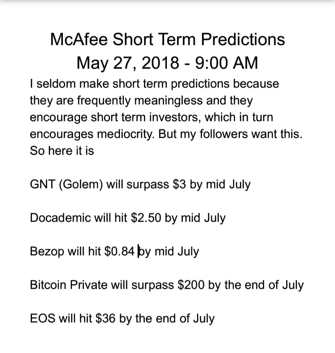John McAfee Short Term predictions