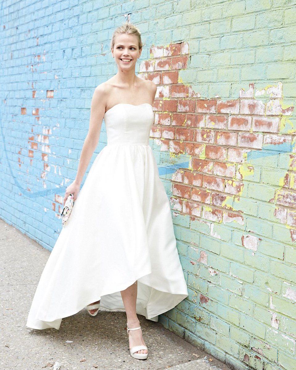 From The City Streets To Hall This High Low Strapless Dress Is Effortlessly Elegant No Matter Venue Shop More Casual Wedding Dresses