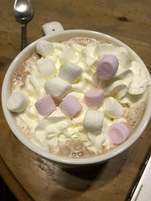 Home and drinking a mint hot chocolate 😂 nom nom nom 🤤 https://t.co/Di3hktaXai