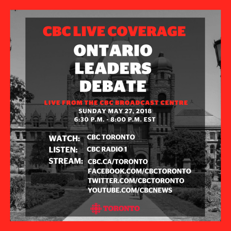 The final Ontario leaders' debate kicks off in an hour - here's how to watch or listen at home #OnElxn #onpoli #ONdebate https://t.co/FKze7LdXXl