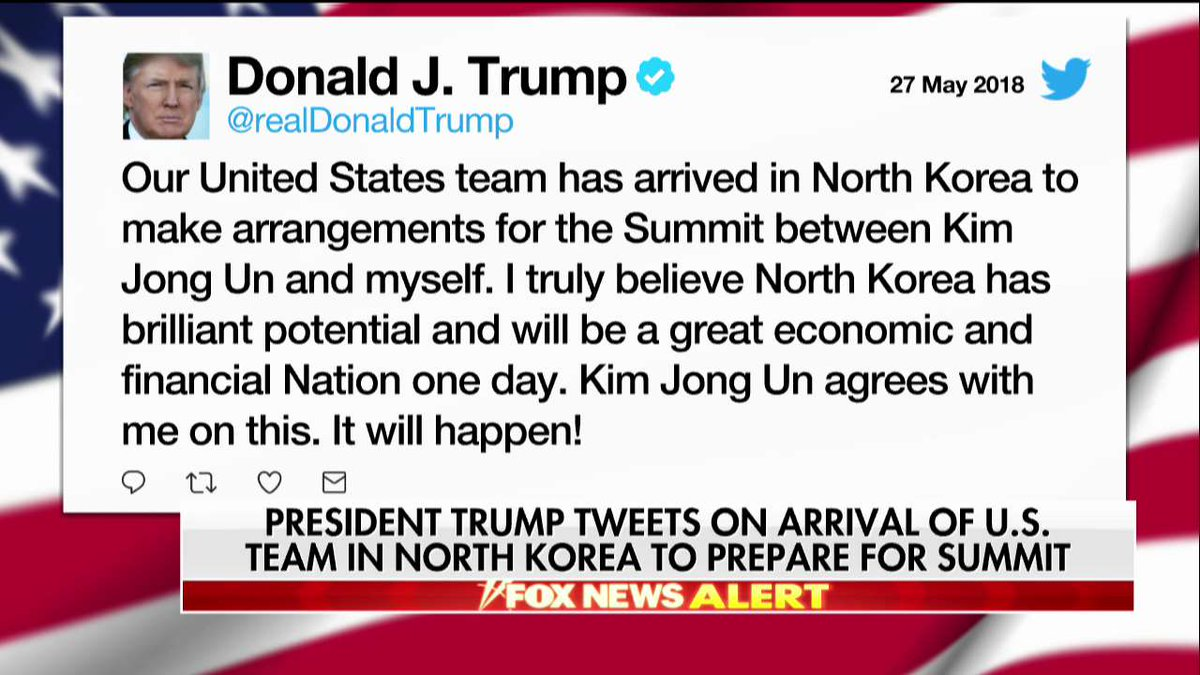 .@realDonaldTrump: US team in North Korea arranging 'for the Summit between Kim Jong Un and myself' https://t.co/a2GQFOc7vT