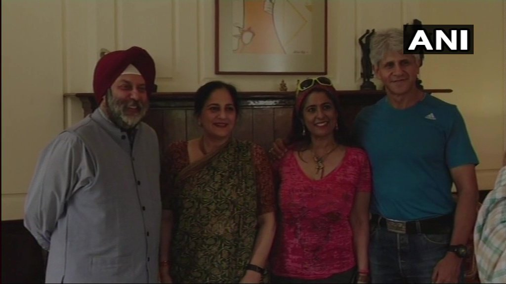 Nepal: 53-years-old Sangeeta Bahl, India's oldest woman to have scaled Mt Everest & her husband Ankur Bahl, who climbed the highest peak in 2016, met Indian Ambassador to Nepal Manjeev Singh Puri in Kathmandu yesterday.