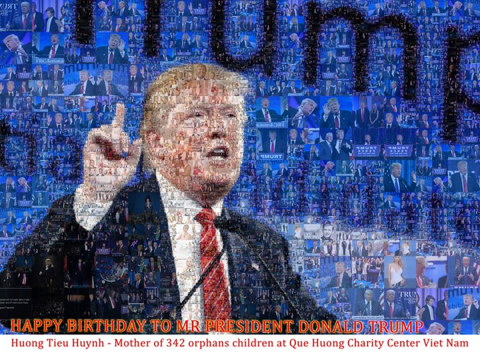 340 orphans. happy birthday president Donald Trump