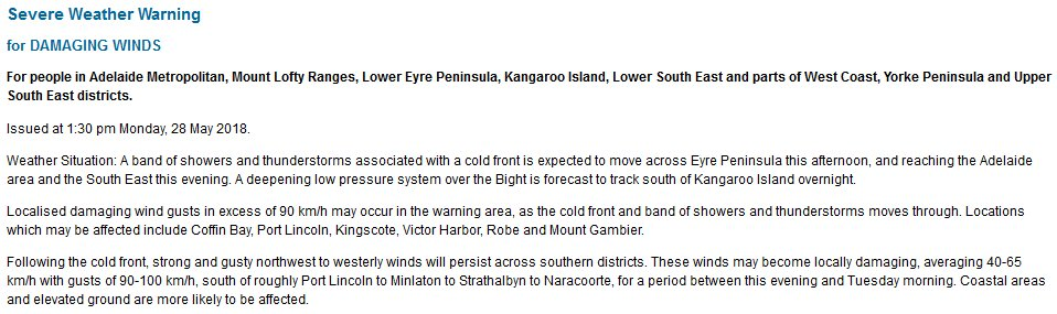 Kangaroo Island Weather  Weeks