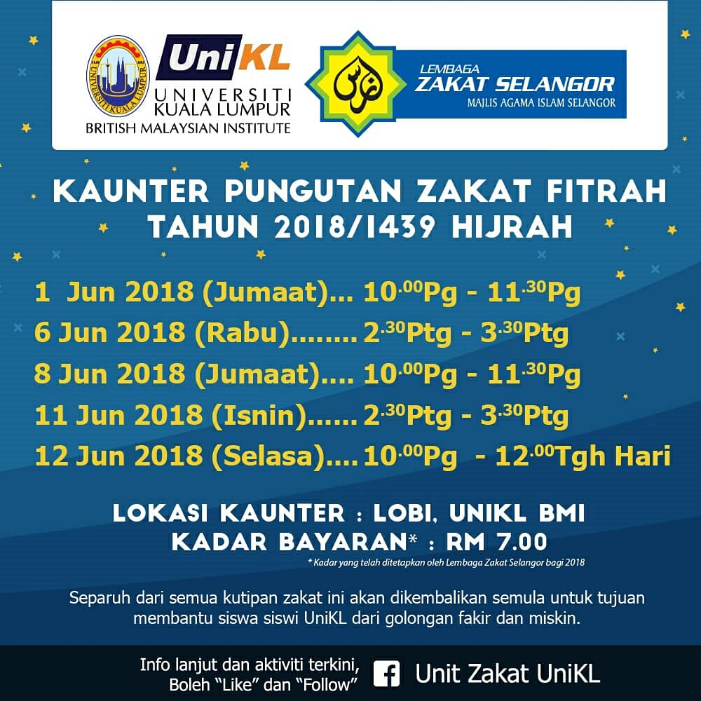 Unikl Bmi On Twitter Salam Ramadan Kareem Jom Bayar Zakat Fitrah Dengan Unikl Bmi Info Lanjut Https T Co Ux87hybqqo
