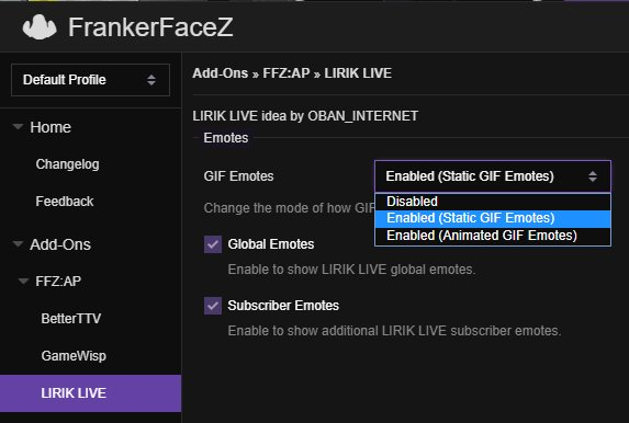 The Frankerfacez Add On Pack On Twitter By Default The Gif Emotes Are Showing As Non Animated Versions Just Like With Bttv Gif Emotes Head On Over To The Ffz Settings And Make Sure