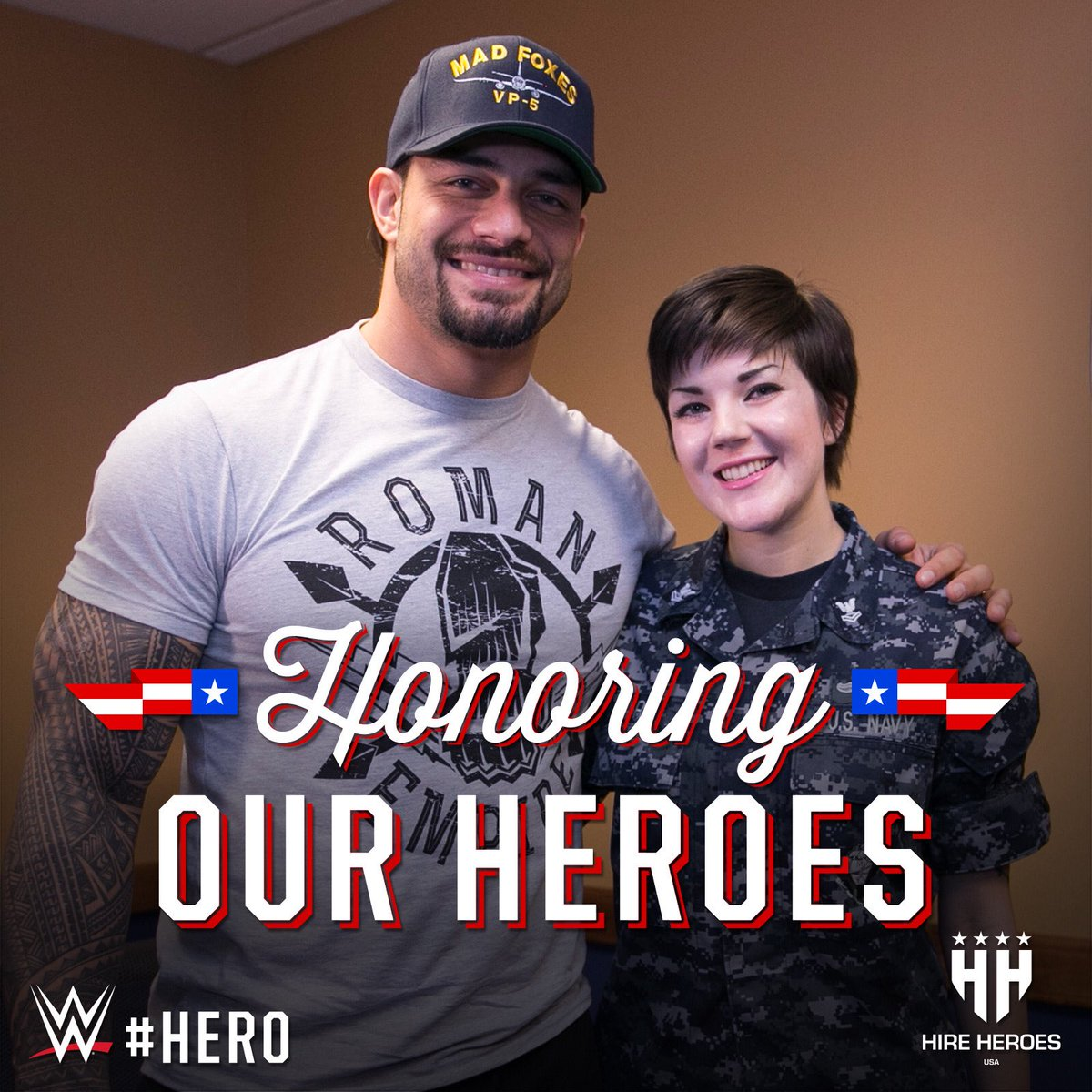 In honor of Memorial Day, Monday #WWE will donate 10% of all #WWEShop proceeds to @HireHeroesUSA. Gear up and support our military! shop.wwe.com #WWEHero