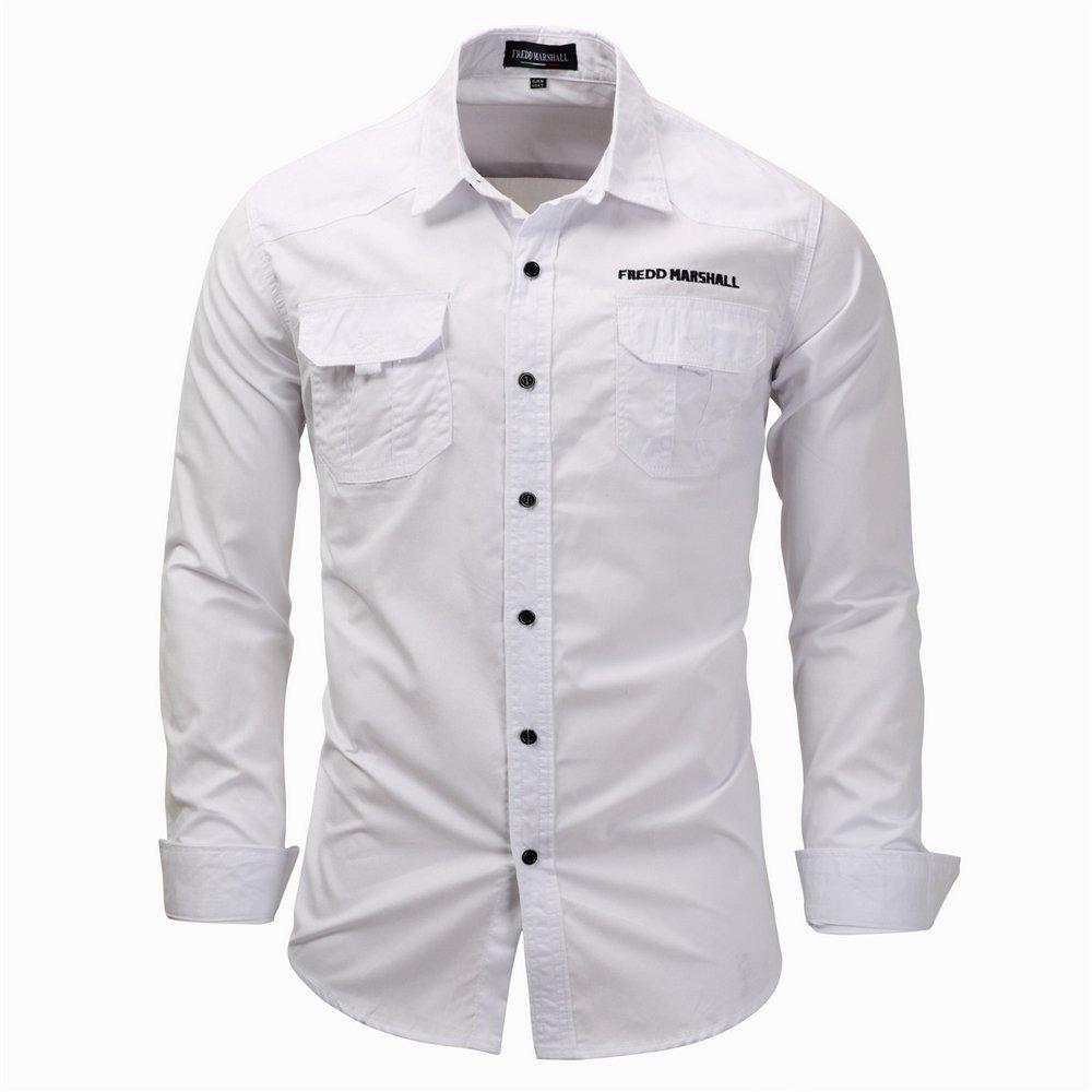 New Mens Denim Long Sleeve Casual Shirt Male Slim Fit Shirts Denim Workwear