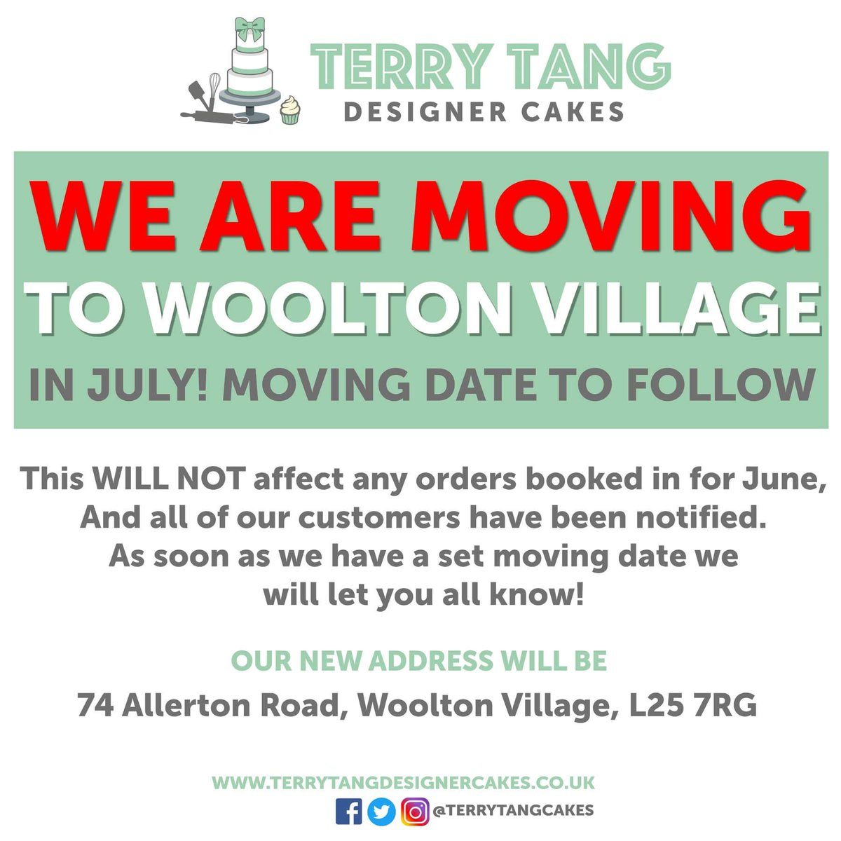 Terry Tang Cakes On Twitter Weve Got Exciting News Terrytangcakes Is The Moveto Woolton Village Check Back For A Moving Date Soon