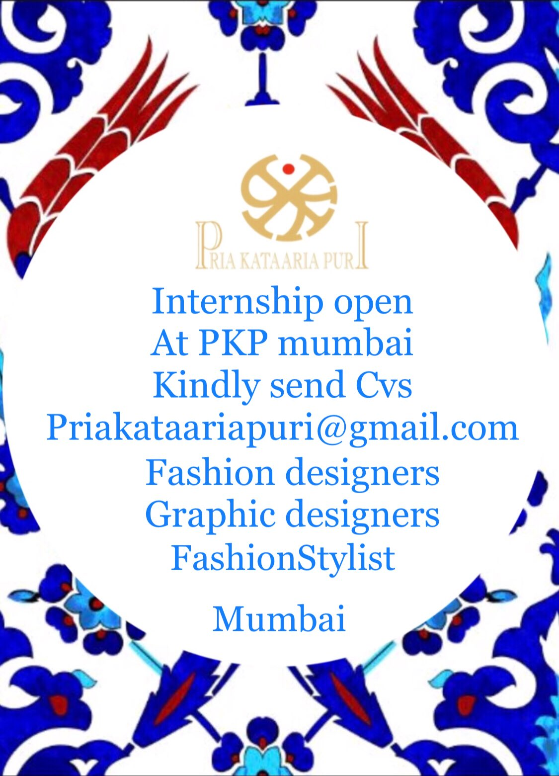 Pria Kataaria Puri On Twitter Looking For Creative Enthusiastic Fashion Obsessed Interns Excelling In Styling Graphic Design Skills From Mumbai Kindly Send Your Cvs To Priakataariapuri Gmail Com Https T Co Ykyeo5asdr