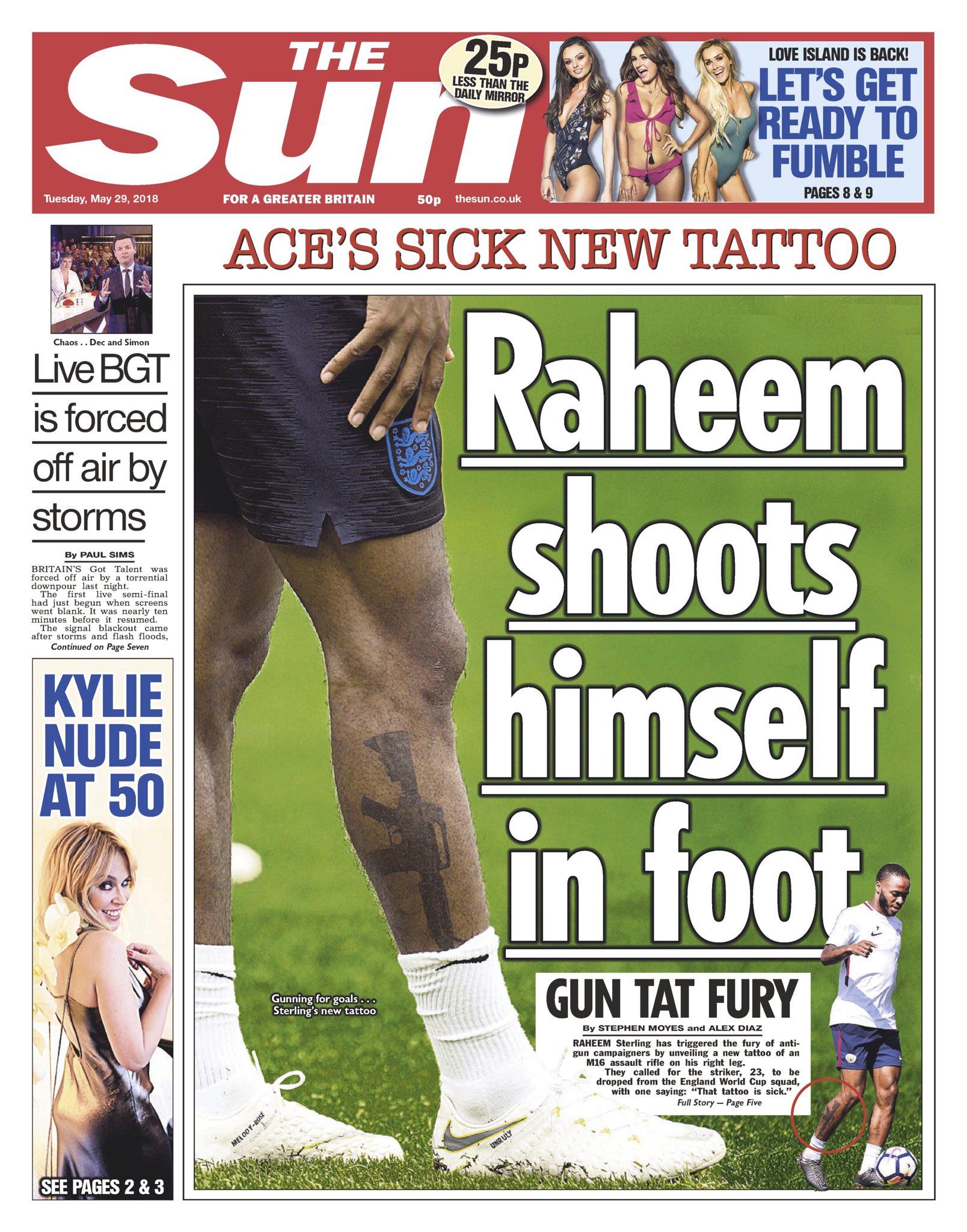 Raheem Sterling, Tattoo, Defends   Baaz