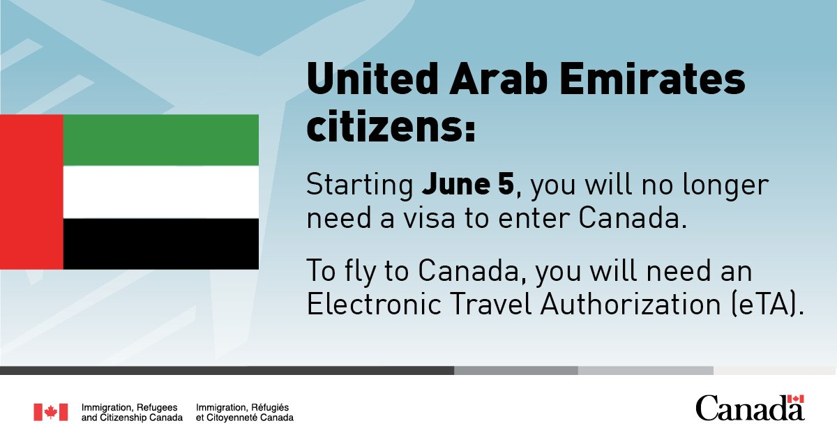 Ircc On Twitter Canada Will Remove The Visa Requirement For United Arab Emirates Citizens On June 5 And Introduce