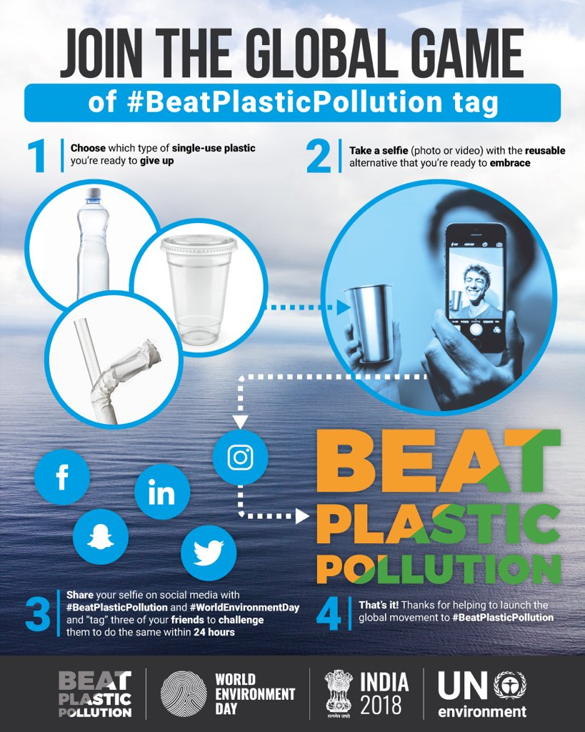 Tag, you're all it!  It takes just a few moments to play #BeatPlasticPollution tag for #WorldEnvironmentDay - challenge your friends to join in the push for a cleaner, greener future. 💚🌍