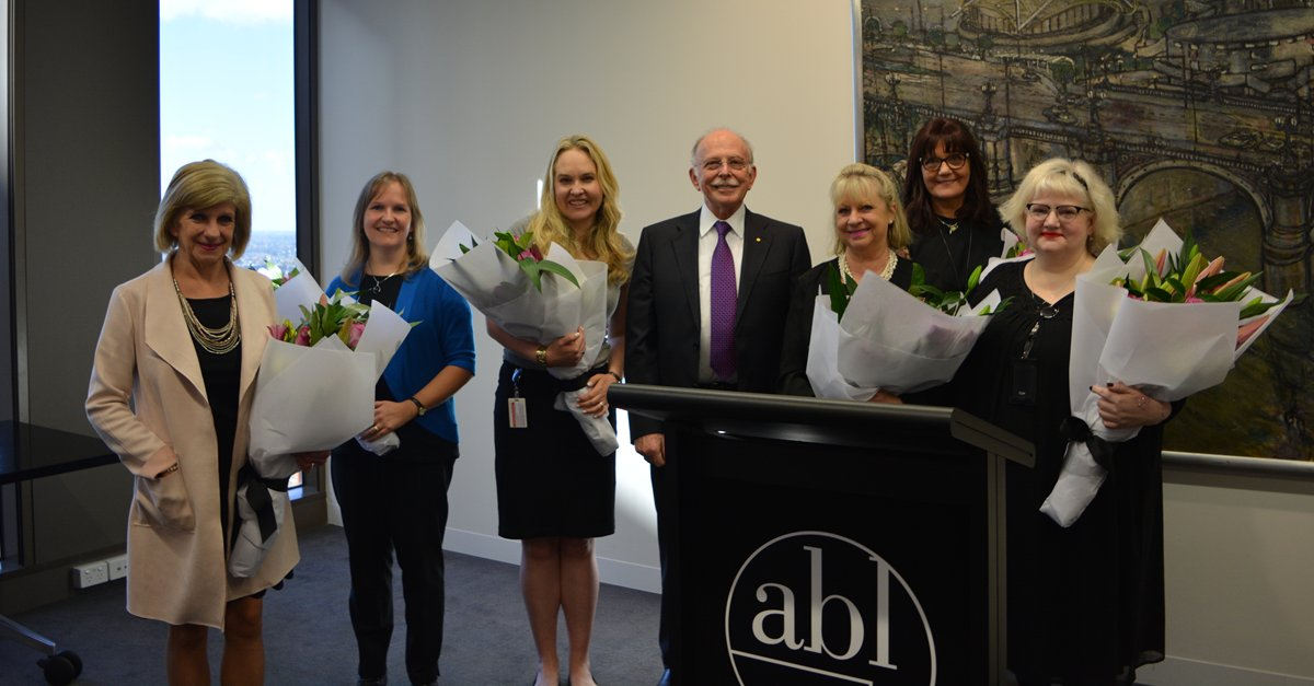 Today we celebrated the milestone work anniversaries of staff members Sandy, Elizabeth, Kimberley, Barbara, Colene and Margaret (pictured with @LeiblerMark), who together have 170 years' service at ABL! #LifeatABL