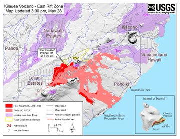 Lava flow and fissure map as of 3:00 p.m. HST, May 28, 2018. Large red numbers are currently active fissures, smaller numbers are the locations of inactive fissures. Shaded purple areas indicate lava flows erupted in 1840, 1955, 1960, and 2014-2015.