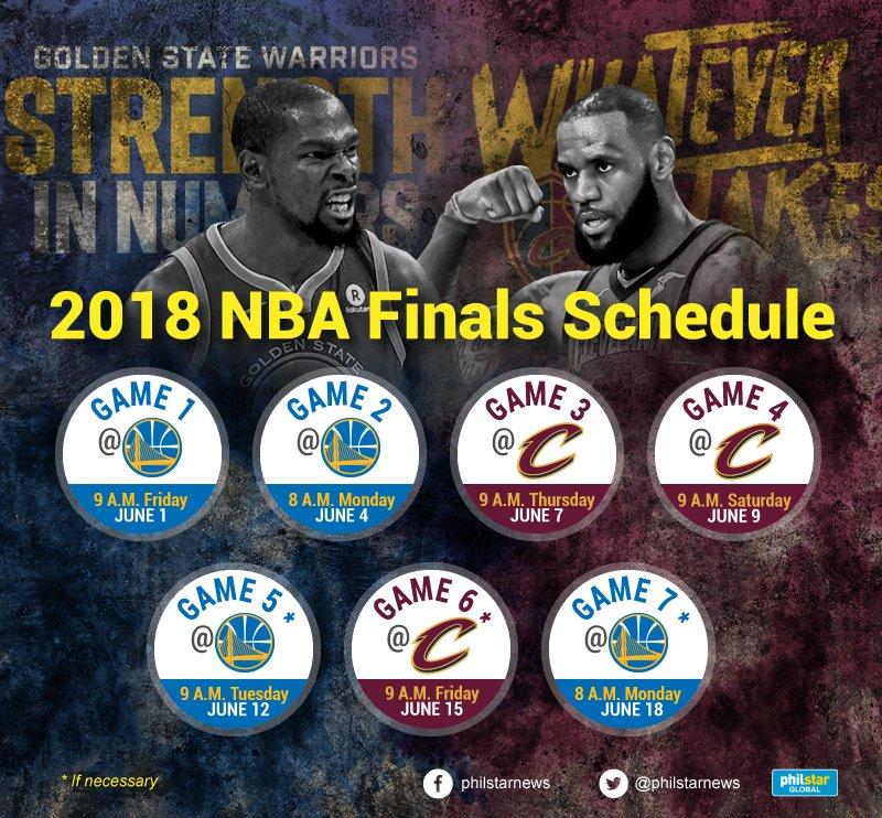 Look 2018 Nba Finals Schedule Philstar Com