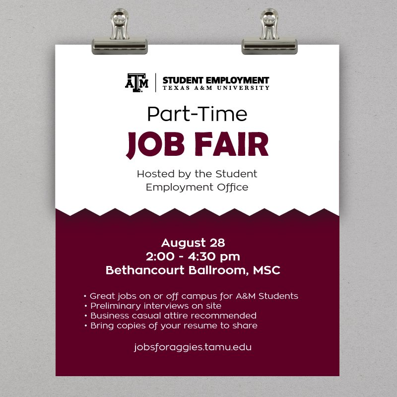 If You Are Needing A Fall Part Time Job Be Sure To Come And Talk The Employers Jobsforaggiestamuedu Pictwitter OL50Z4fOrN