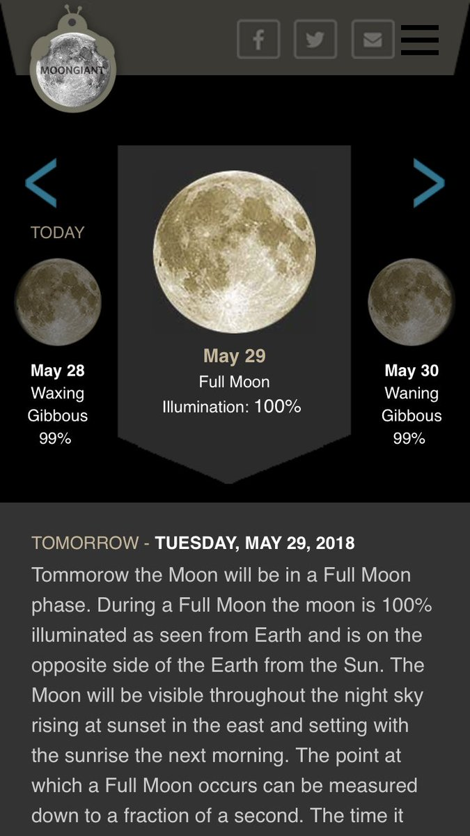 Tony Riddle On Twitter Todays Moon Phase Check Out Moongiant To