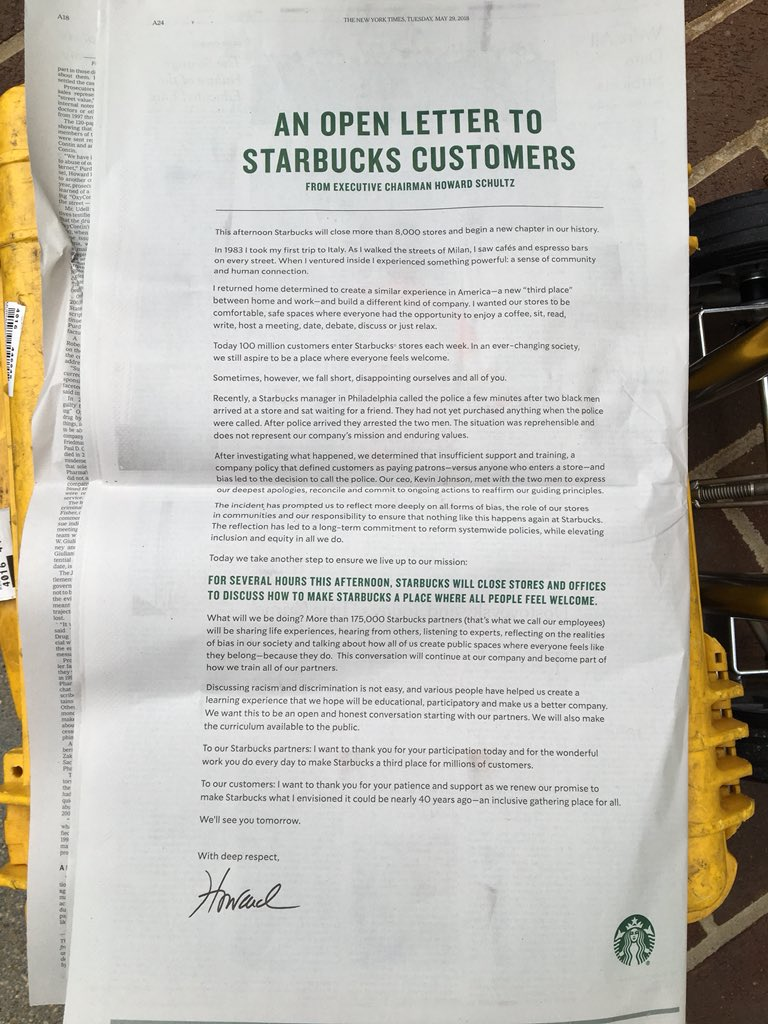 f476bf3924  Starbucks takes out full page ads to explain why it s shutting stores for  four hours today. It concedes the way it treated Donte Robinson and Rashon  Nelson ...