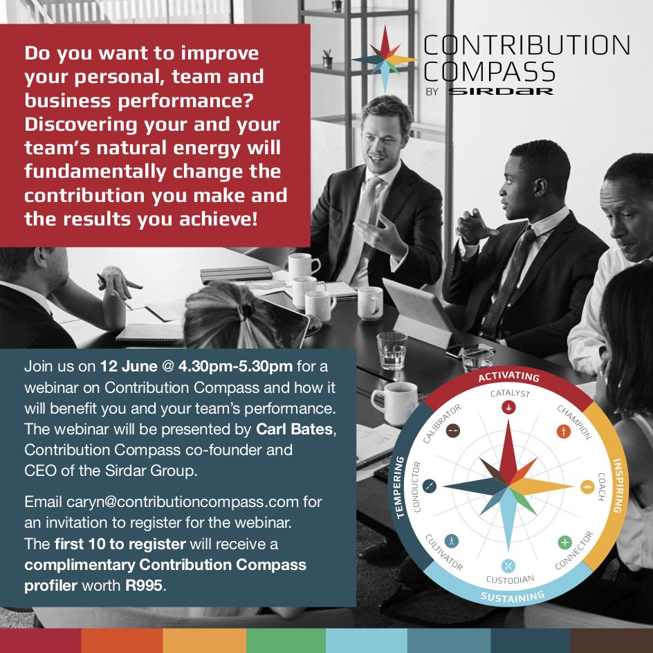 Maximise you and your team's contribution.  Email caryn@contributioncompass.com for an invitation to register for this webinar. The first 10 to register will receive a complimentary Contribution Compass profiler worth R995.  #contributioncompass #maximisereturn #teamwork https://t.co/WLgZTPat62