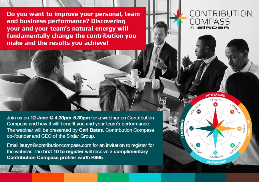 Maximise you and your team's contribution.  Email lauryn@contributioncompass.com for an invitation to register for this webinar. The first 10 to register will receive a complimentary Contribution Compass profiler worth R995.  #contributioncompass #maximisereturn #teamwork https://t.co/14JCwnBNhh