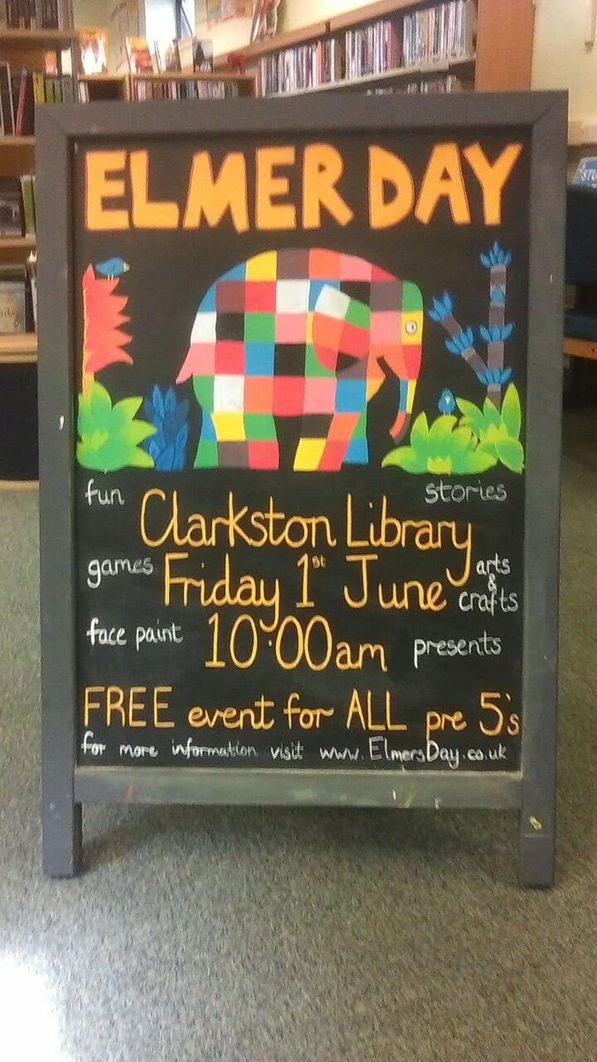 ... crafts to celebrate the most fabulous patchwork elephant there is #Elmer.  Pre 5's event. For more info contact the library.pic.twitter.com/OY61GaPrww
