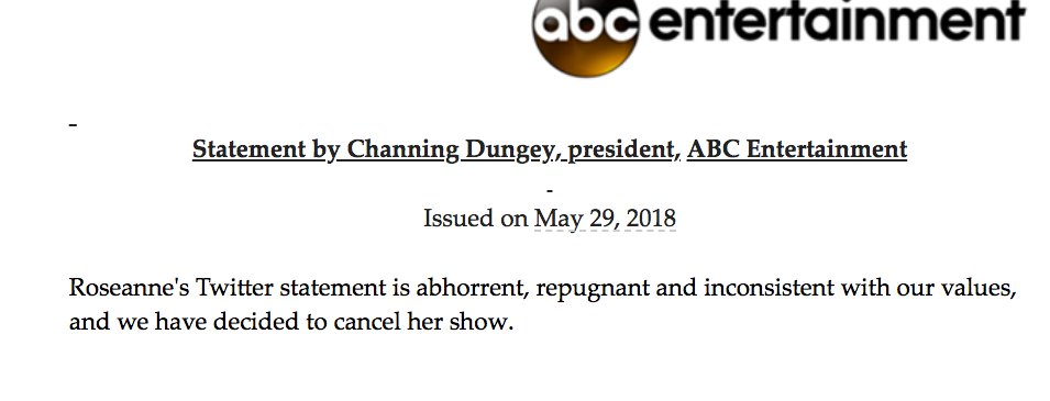 kate aurthur on twitter abc has canceled roseanne
