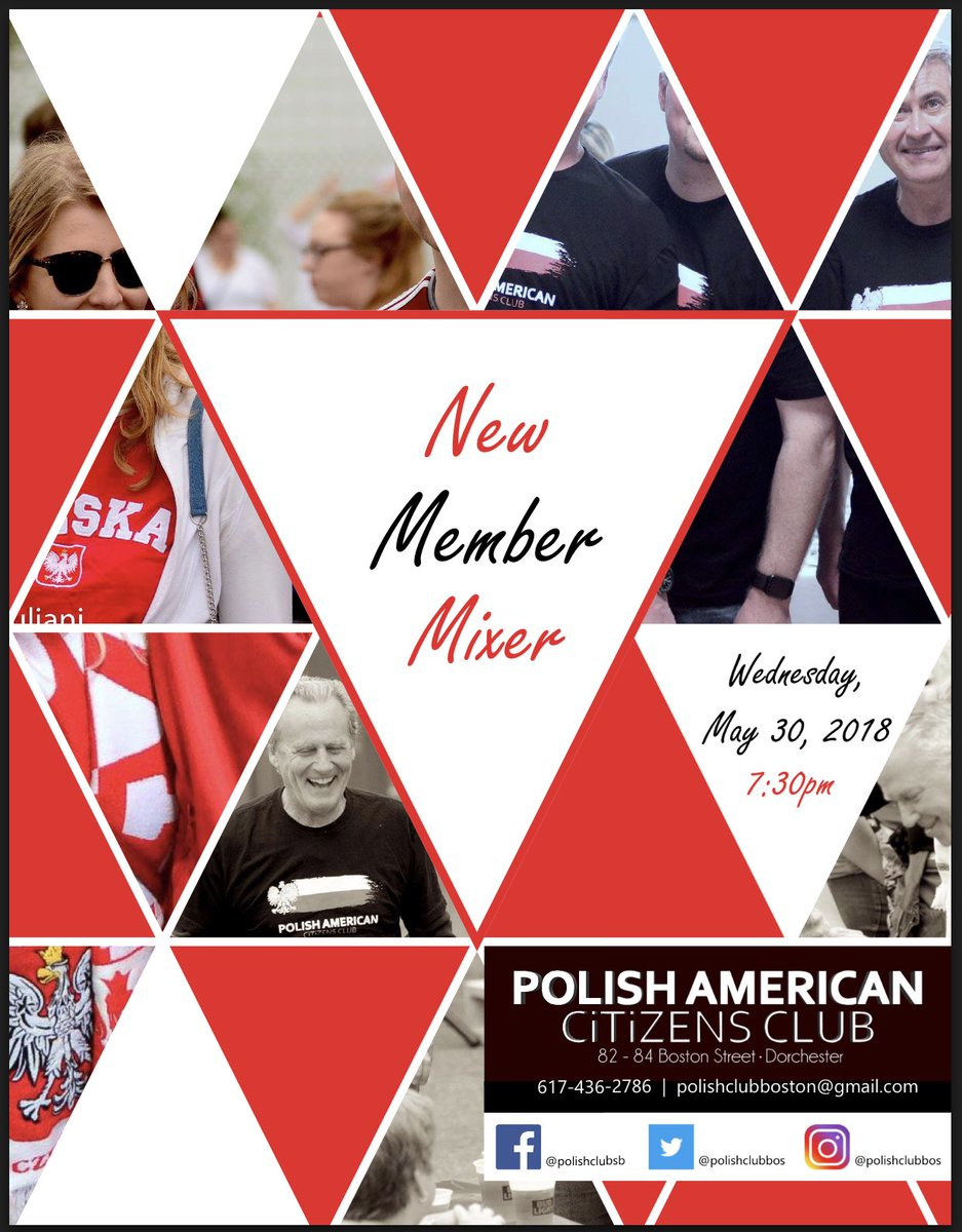 Join us tomorrow 5/30 to learn more about our social club, membership options, and mix and mingle with current members. http://www.facebook.com/events/20774146678155 … #newmembermixer #polonia #dorchester #community #boston #socialclub #jointhePC