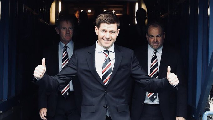 Steven Gerrard  38 today. Hangover tomorrow. Rangers manager Friday.  Happy Birthday, Steven.