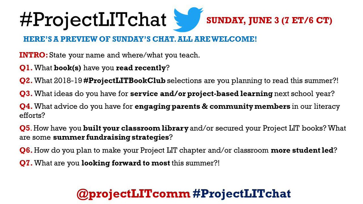 Questions are SET for Sunday night's #ProjectLITchat! 7 ET/6 CT. ALL are welcome! 📚💙