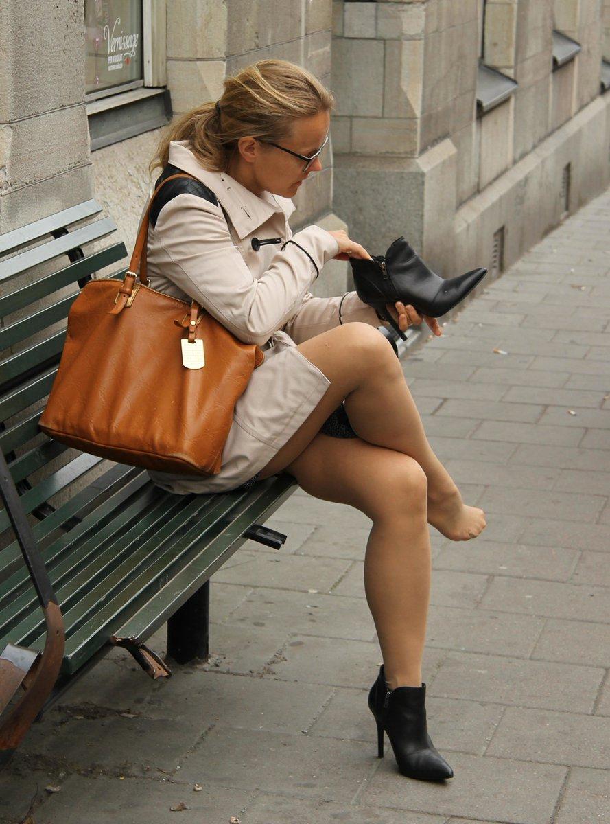 Tan stockings upskirt