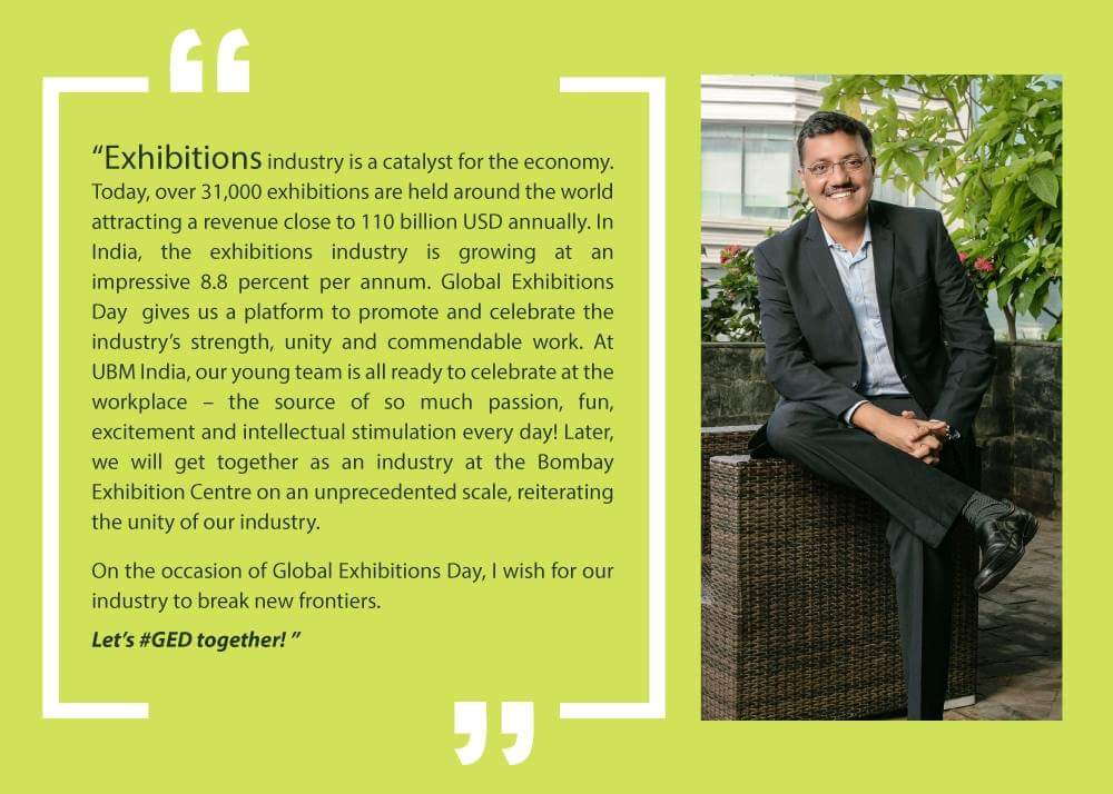 test Twitter Media - It's Global Exhibitions Day and UBM India is all set to celebrate the exhibitions industry - take a look at what Managing Director, Mr Yogesh Mudras has to say: #GED2018 #GED #exhibitions #expo #export https://t.co/oDoCsTDYsq