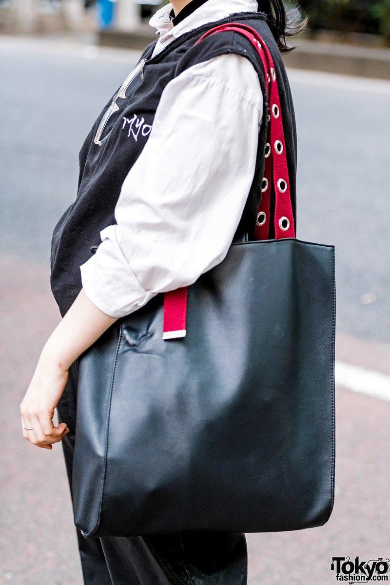 Wego Tote Bag 原宿 Http Tokyofashion Monochrome Anese Street Style Myob Leather Pants Yosuke Platforms Pic Twitter V8tu6ztmpw