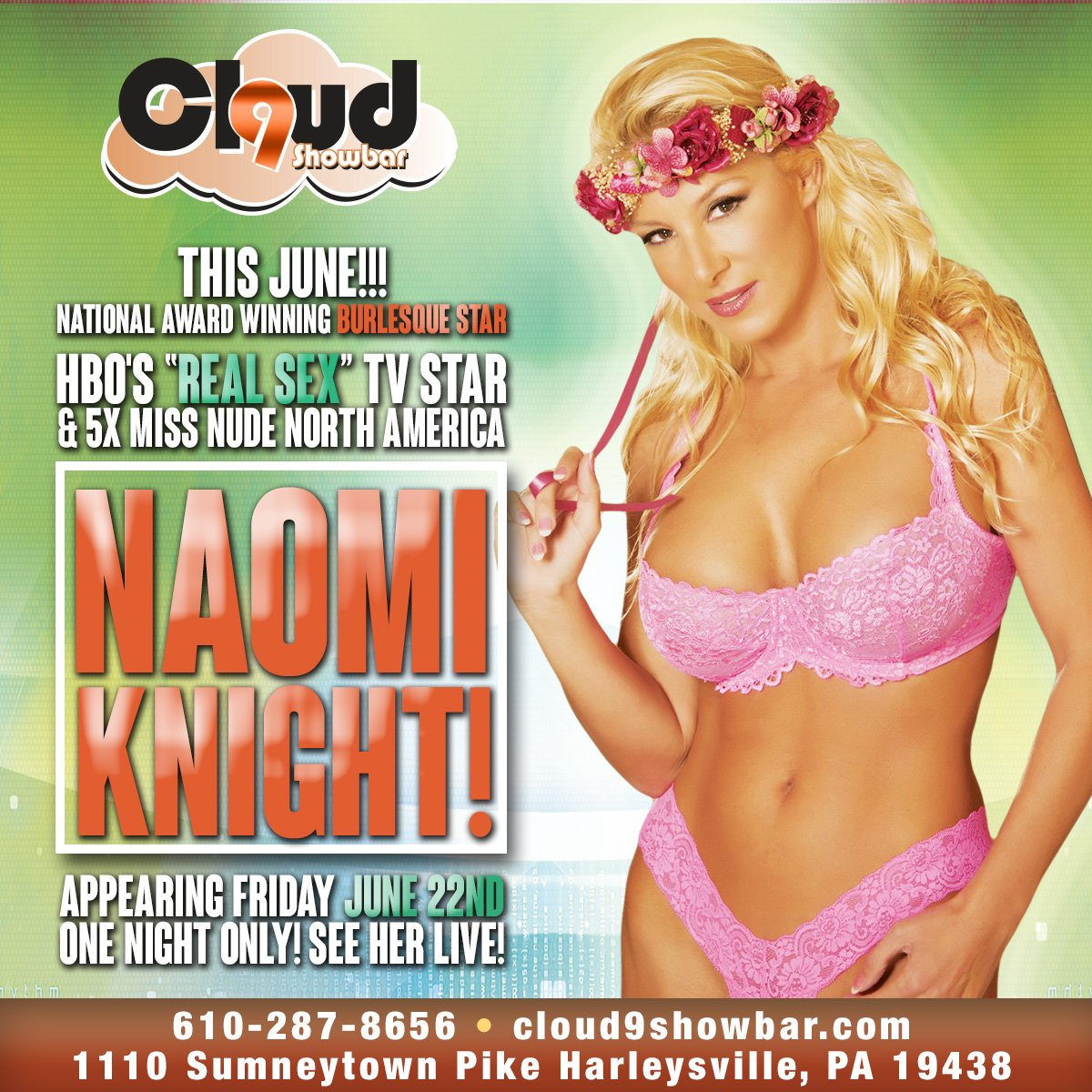 One night only!!! Start your weekend of with a bang💥 Come join me and the sexy women of Cloud nine show bar for a crazy and wild Friday night.  #naomiknightxxx #naomiknight #nightlife #blonde #featureentertainer #boobs #harleysvillepa