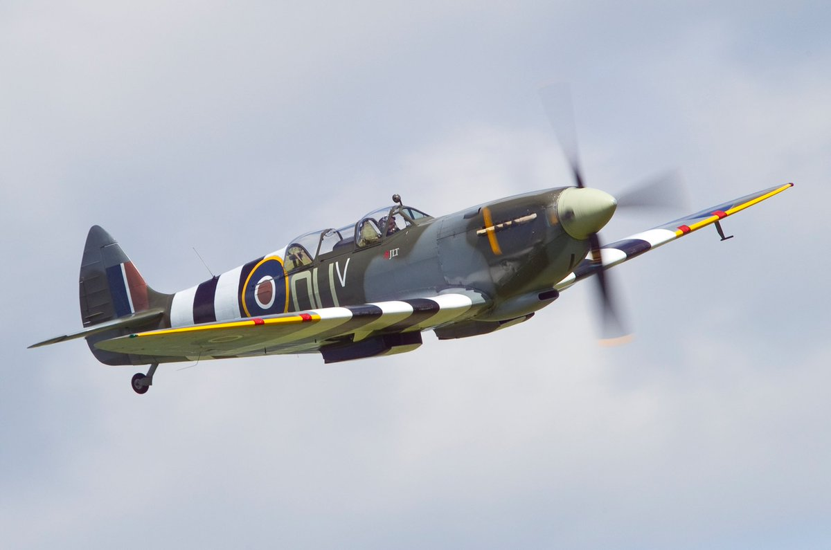 test Twitter Media - ML407 in full D-Day markings painted on with rollers and brushes as done 74 years ago for Johnnie Houlton DFC to fly his Spitfire on the Overlord (D-Day) battle where they shot down the first enemy aircraft on D-Day at Omaha Beach. We, with ML407 honour those who saved so many. https://t.co/6fbMHWeTTA