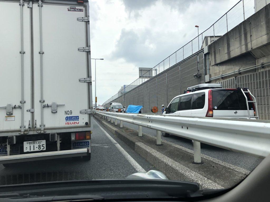 上尾市の国道16号でバイク事故の現場の画像