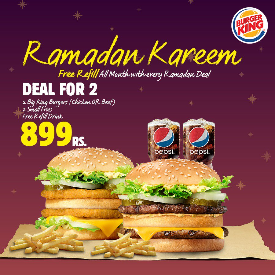 Have the most filling Ramadan Deal for 2, that we have in store for you! Only in Rs. 899/- enjoy 2 Big Kings (Chicken/Beef), 2 Drinks and 2 Small fries! Note: We start delivering from 1 PM #RamadanKareem #BurgerKingPakistan #YourWay #Foodie
