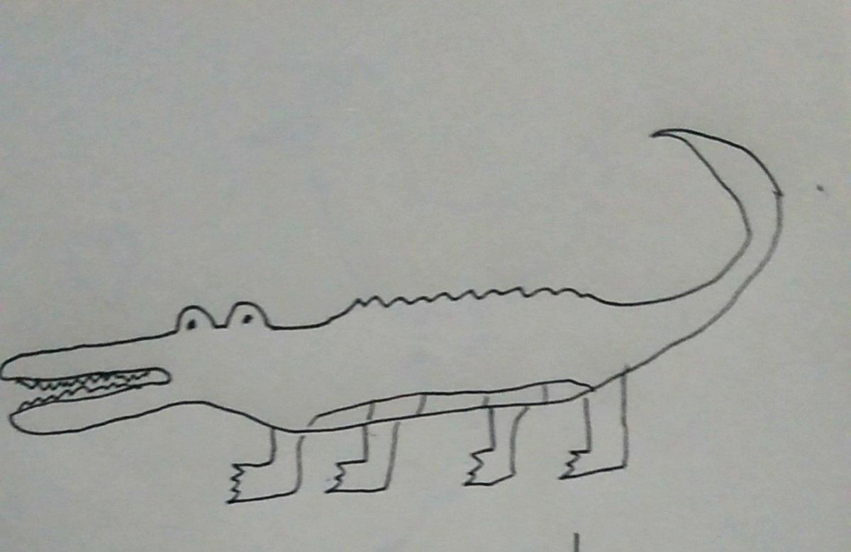 ワニの絵を描いたら妻が刺繍してくれました